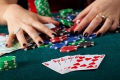 Royal flush closeup. A closeup of a royal flush on a gambling table stock photography