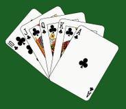 Royal flush club on green. Playing cards: royal flush club on green background Stock Images