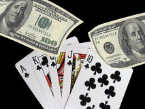 Royal flush of clubs Royalty Free Stock Images