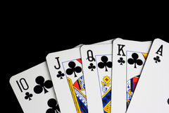 Royal flush Clubs Stock Images