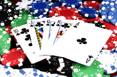 Royal Flush Clubs royalty free stock photos