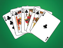 Royal Flush of Clubs Stock Images