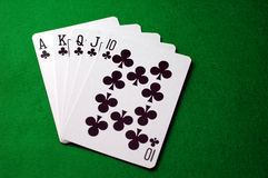 Royal Flush - Clubs Royalty Free Stock Photos