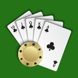 A royal flush of clubs with gold poker chip on green background, winning hands of poker cards, casino playing cards and chip. Vector poker symbols vector illustration