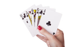 Royal Flush of clubs in hand Royalty Free Stock Photo