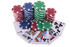 Royal Flush of clubs with poker chips Royalty Free Stock Photos