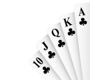 Royal Flush Clubs. Clubs suit royal flush poker hand vector stock illustration