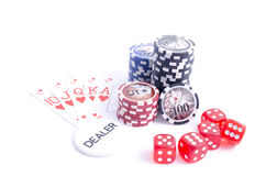 Royal flush with dealer button stock images