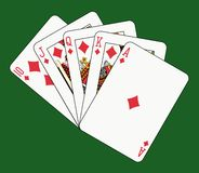 Royal flush diamond on green Royalty Free Stock Photos