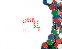 Royal flush diamond poker combination. Isolated stock photography
