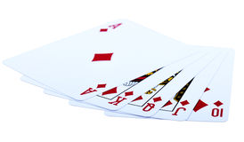 Royal Flush Diamonds. One of the highest hands in poker a Diamond Royal Flush. Isolated on white background. Selective focus Stock Photo