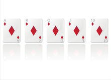 Royal flush in diamonds Royalty Free Stock Images