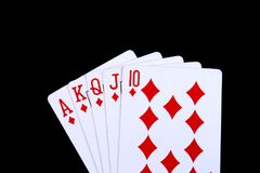 A royal flush in diamonds Royalty Free Stock Image