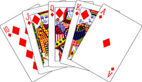 Royal flush diamonds playing cards Stock Photography