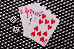 Royal flush and dice Stock Images