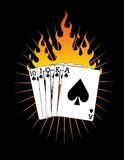 Royal Flush on Fire!. A vector image of a royal flush on fire! (vector is same as clip art Royalty Free Stock Images