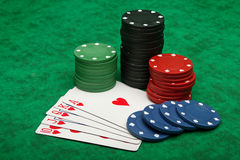 Royal Flush with gambling chips Stock Photos