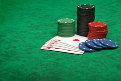 Royal Flush with gambling chips Royalty Free Stock Photos