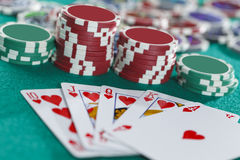 Royal Flush On The Green Background. Royal Flush On The Green Casino Table Royalty Free Stock Photography