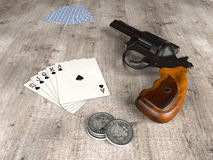 Royal Flush and gun Royalty Free Stock Images