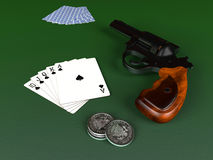 Royal Flush and gun Stock Photography