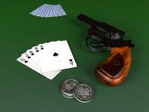 Royal Flush and gun Stock Photography