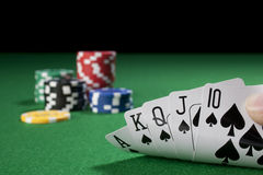 Royal flush in hand Stock Photos