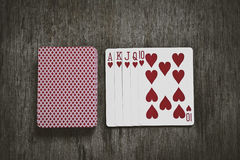Royal flush hand ranking. In texas poker abstract Stock Photos