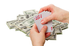 Royal flush in the hands of Royalty Free Stock Photo