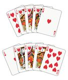 Royal Flush Heart. In two different arrangements Royalty Free Stock Images