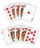 Royal Flush Heart. In two different arrangements vector illustration