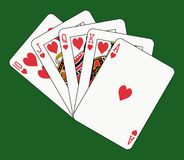 Royal flush heart on green. Playing cards: royal flush heart on green background Stock Images