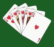 Royal flush heart on green. Playing cards: royal flush heart on green background stock illustration