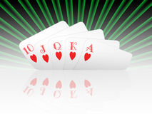 Royal flush hearts Stock Photography