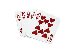 Royal Flush Hearts Stock Photos