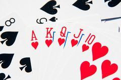 Royal Flush of hearts Royalty Free Stock Photography