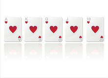 Royal flush in hearts Royalty Free Stock Image