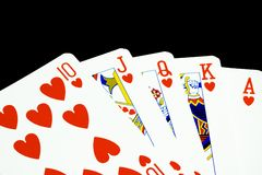 Royal flush of hearts Stock Image