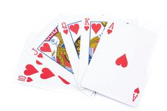 Royal flush of hearts. On a white background Stock Photos