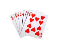 Royal flush with hearts royalty free stock photography