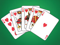 Royal Flush of Hearts. On green background. The figures are original design Royalty Free Stock Images