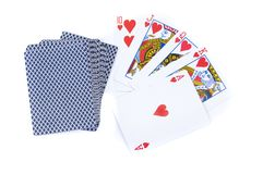 Royal flush of hearts and deck of Cards Royalty Free Stock Photo