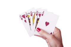 Royal Flush of hearts in hand Royalty Free Stock Image