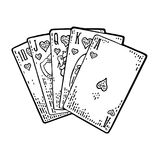 Royal flush in hearts. Male hand holding a game card. Royalty Free Stock Images