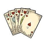 Royal flush in hearts. Male hand holding a game card. Royalty Free Stock Photo