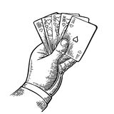 Royal flush in hearts. Male hand holding a game card. Vector black vintage engraving illustration for poster, label, banner, web. Isolated on white background royalty free illustration