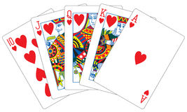 Royal flush hearts playing cards Stock Image