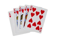 Royal flush hearts poker cards with clipping path. Royal flush hearts poker cards Royalty Free Stock Photos