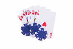 Royal Flush of hearts with poker chips Royalty Free Stock Image