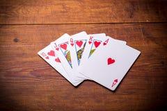 Royal Flush hearts Stock Photos